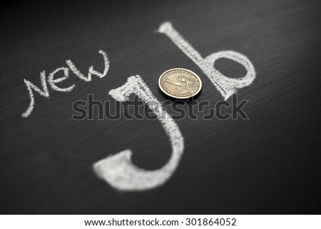 New job sign on blackboard - stock photo