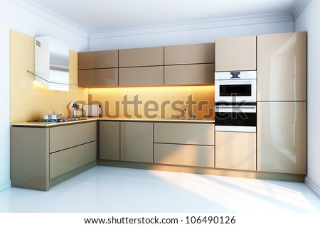 new kitchen interior with brown lacquer boxes facades - stock photo