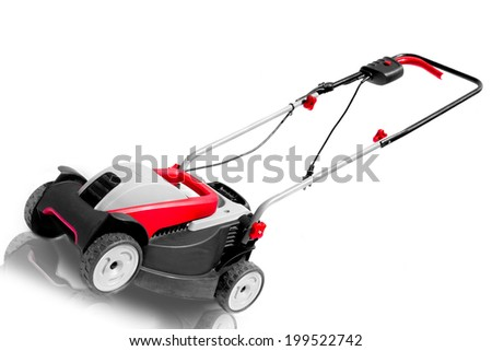 New lawn mower isolated on a white background - stock photo