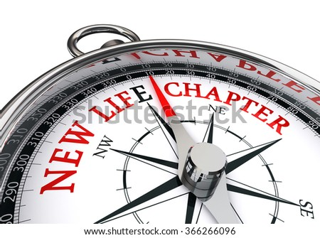 New life chapter direction indicated by motivation compass, isolated on white background