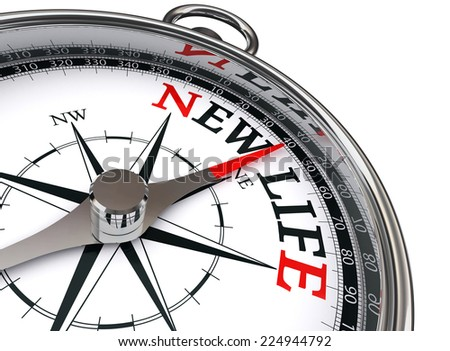 new life conceptual compass isolated on white background - stock photo