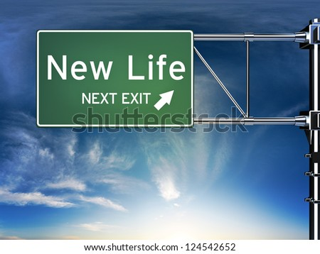 New life next exit, sign depicting a change in life style ahead - stock photo