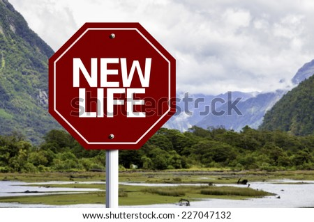 New Life written on red road sign with landscape background - stock photo