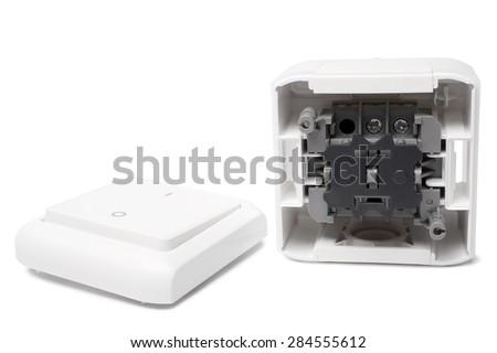 New light switch on white background - stock photo