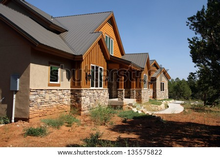 new log cabin home rental in east zion in Utah - stock photo