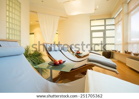 New luxury beauty resort with bright restful room - stock photo