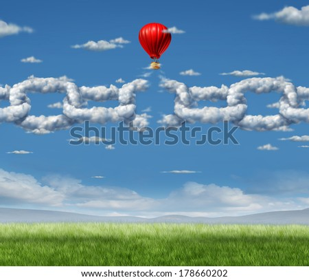 New Markets Breakthrough business concept  as a group of clouds shaped as a linked chain being broken through by a businessman in a hot air balloon as a freedom metaphor of repression and dirty air. - stock photo