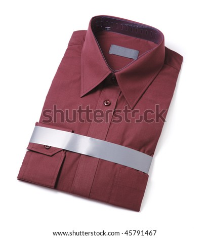 New men's red dress shirt isolated on white with natural shadows