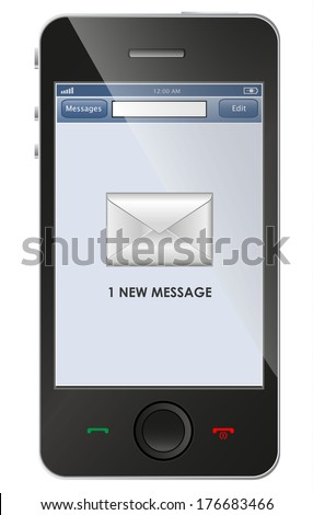 New message icon on smart phone - stock photo