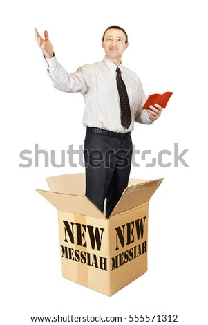 New messiah leaps out from the cardboard box and preaches. Isolated over white