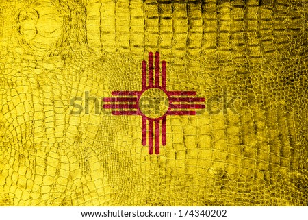 New Mexico State Flag painted on luxury crocodile texture - stock photo