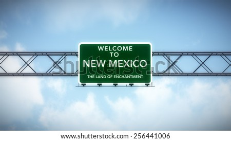 New Mexico USA State Welcome to Highway Road Sign 3D Illustration
