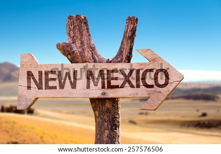 New Mexico wooden sign with a desert background - stock photo