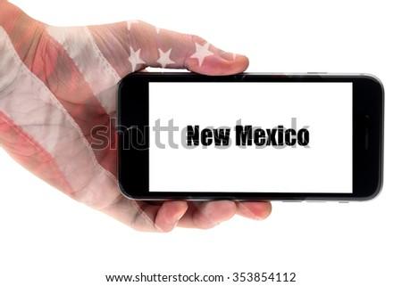 New Mexico word write on smart phone. New Mexico - U.S. States - stock photo