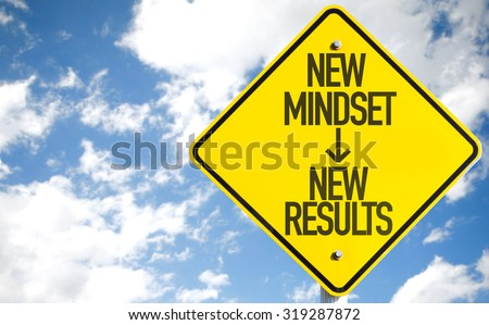 New Mindset - New Results sign with sky background - stock photo