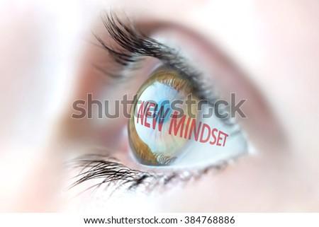 New Mindset reflection in eye. - stock photo