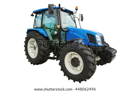 New modern agricultural tractor isolated on white background with clipping path
