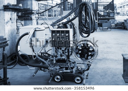 new, modern and mobile device for welding - stock photo
