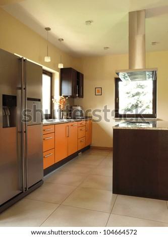 New modern house interior: spacious kitchen, vertical - stock photo
