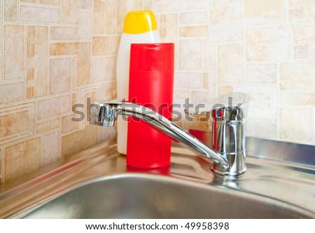 New modern kitchen sink at home kitchen - stock photo