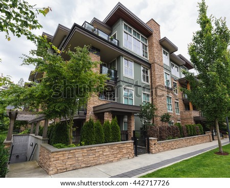 New Modern looking residential townhouse. - stock photo