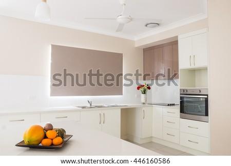 New modern open plan kitchen - stock photo