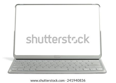 New modern pad-transformer with keyboard isolated on the white background. Clipping paths included - stock photo