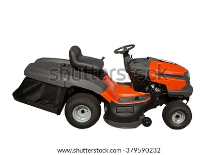 New modern ride on lawn tractor isolated on white background - stock photo