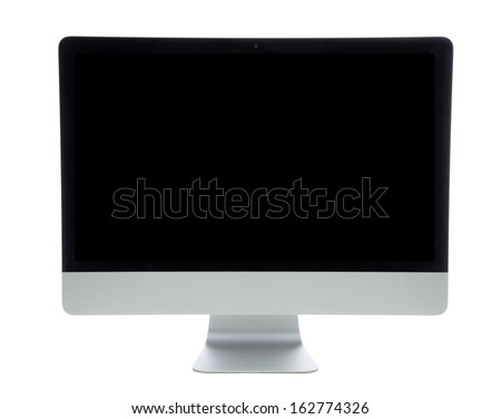 New monitor computer display  with black screen isolated on a white background - stock photo