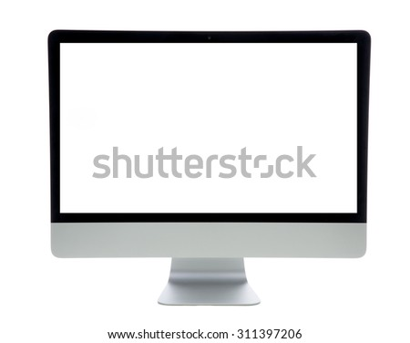 New monitor computer retina display with blank screen isolated on a white background - stock photo