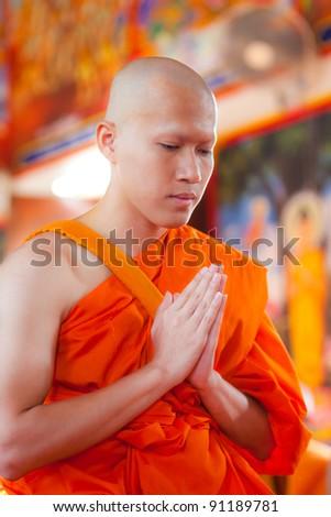 New Monk, Monks ordination ceremony - stock photo