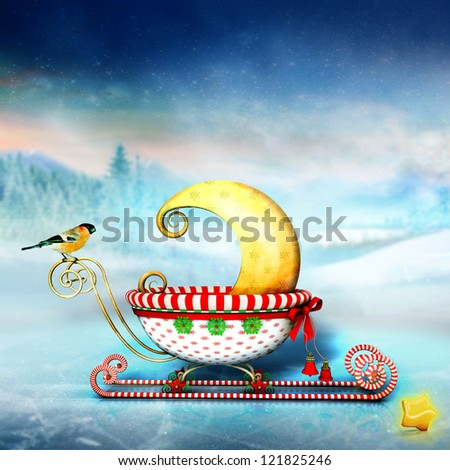 New Moon in christmas sled - stock photo