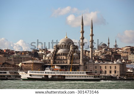 New Mosque and ferry - stock photo