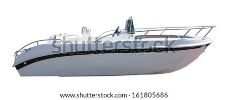 New motor speedboat. Isolated over white background - stock photo