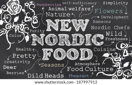 New Nordic Food Culture with Chalk on Blackboard - stock photo