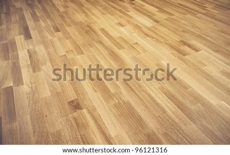 New oak parquet of brown color - stock photo