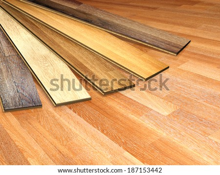 New oak parquet of different colors - stock photo