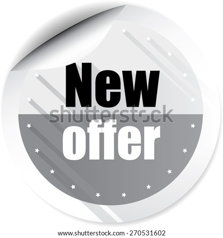 New offer modern style gray stickers and label. - stock photo
