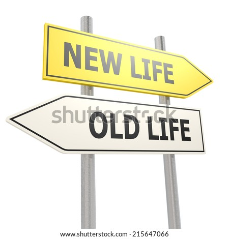 New old life road sign - stock photo