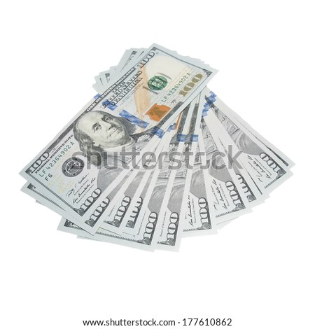 New one hundred dollar bill isolated on white background - stock photo