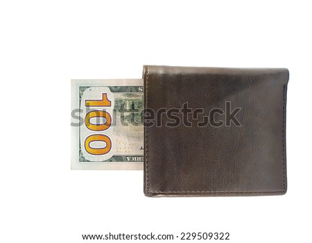 New one hundred dollar bills in leather wallet isolated over white background - stock photo