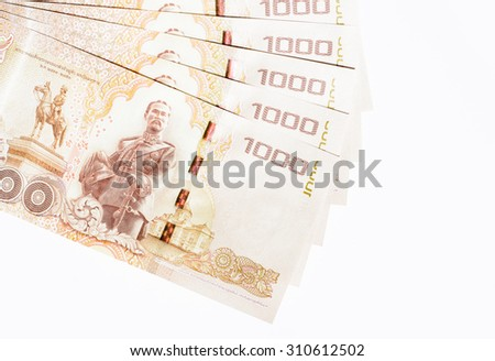 New one thousand banknotes of Thai currency,money on white background - stock photo