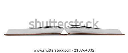 new open book on an isolated white background - stock photo