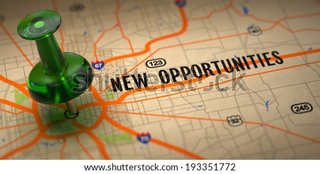 New Opportunities Concept - Green Pushpin on a Map Background with Selective Focus. - stock photo