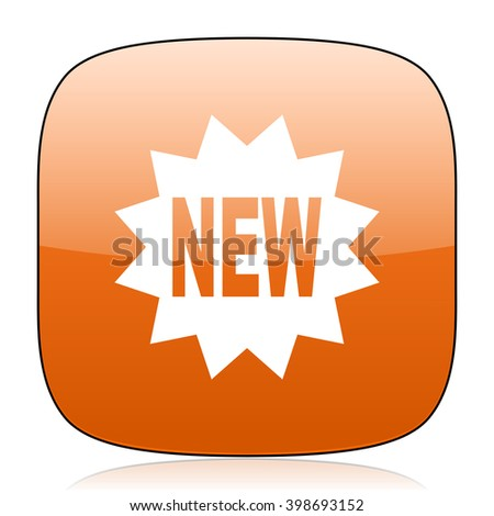 new orange square glossy web icon