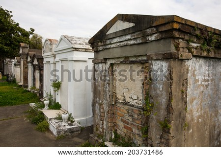 New Orleans Cemetery - historic Saint Louis Cemetery in New Orleans. - stock photo