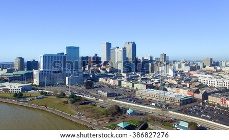 NEW ORLEANS - FEBRUARY 11, 2016: Wonderful aerial city view. New Orleans attracts 10 million tourists annually.