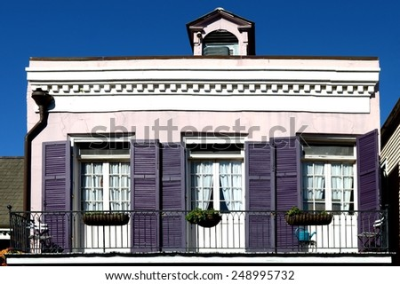 New Orleans French Quarter Style Balcony Architecture. - stock photo