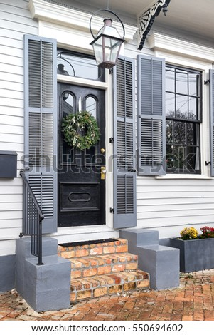 New Orleans Front Door Brick Steps Stock Photo Royalty Free