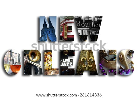 New Orleans illustration with assorted famous landmarks and local imagery                                - stock photo